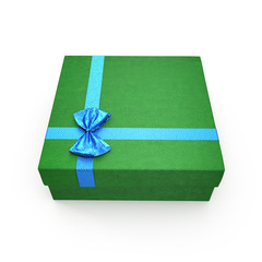 Isolated green gift box on white. 3D illustration