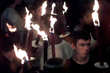 RIGHT WING ISRAELIS CARRY TORCHES AT PROTEST IN JERUSALEM.