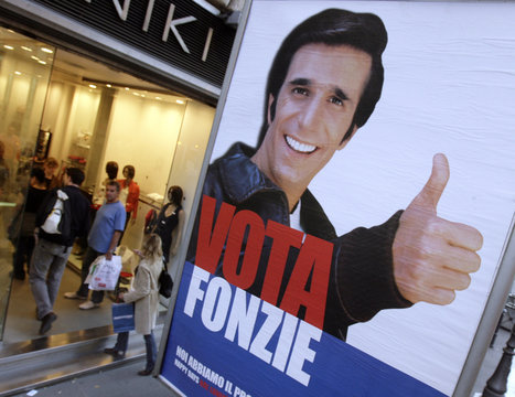 The image of Fonzie appears on a poster advertising re-runs of a vintage program by a satellite television company in Rome