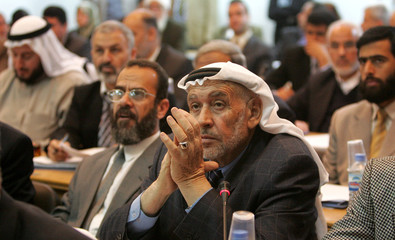 Hamas co-founder Abdel Fatah Dukhan attends weekly session of Palestinian parliament in Gaza