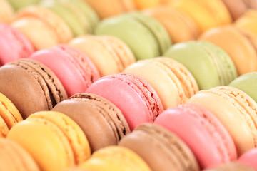 Fotorolgordijn Macarons Macarons Macaroons Kekse Nachtisch Dessert aus Frankreich