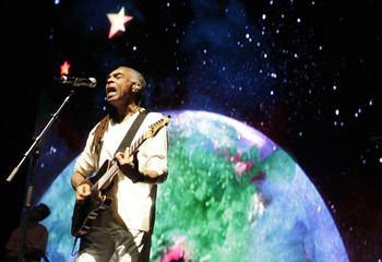 Brazilian musical icon Gil sings during Moving Stars and Earth for Water live event in Rio de Janeiro
