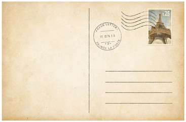 Old style postcard with postage stamp 3d illustration