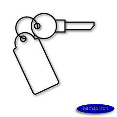 A simple  linear image of a key from an apartment or car with a key fob, a flat line icon for a web site