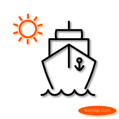 Simple  linear image of a ship floating on the waves and orange sun, a flat line icon for a travel agency