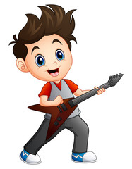 Cartoon boy playing electric guitar