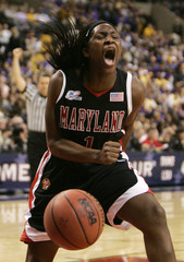 Maryland's Langhorne celebrates during Maryland's defeat of the North Carolina in NCAA game in Boston