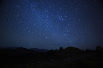 night sky stars with milky way on mountain background.