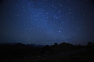 night sky stars with milky way on mountain background.