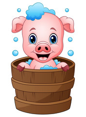 Smiling pig cartoon bathing