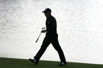 Sergio Garcia of Spain walks near the green of the 18th hole during the HSBC Champions golf tournament in Shanghai