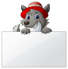 Cartoon wolf with blank sign
