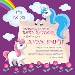 Baby shower invitation template with the image of cute unicorns. Colorful vector background