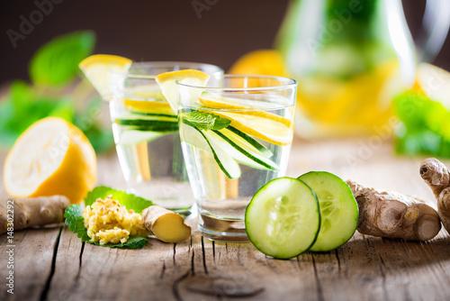 Detox Getränk aus Ingwer, Zitrone, Gurke, Minze, Melisse - Infused ...