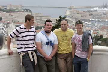 Australia's Rugby World Cup players Vickerman, Sheperson, Mortlock and Barnes pose for photos in Marseille