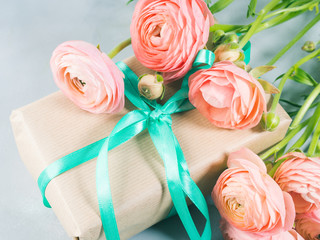 Beautiful Pink ranunculus flowers bouquet and gift box. Valentine mother day. Wedding birthday present