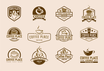 12 coffee logo illustrations set