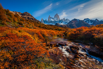 Mountain River and Mount Fitz Roy. Patagonia, Argentina.