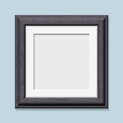 Square wooden black photo frame