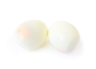 Boiled eggs on white background, healthy food concept