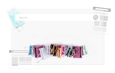 E-commerce online shopping concept. Miniature of reusable grocery bags.