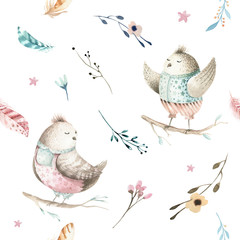 Cute baby bird animal seamless pattern, forest illustration for children clothing. Woodland watercolor Hand drawn boho chiken image for cases design, nursery poster
