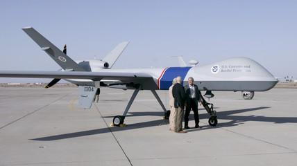 U.S. President Bush and Chertoff view a Predator Drone in Yuma, Arizona