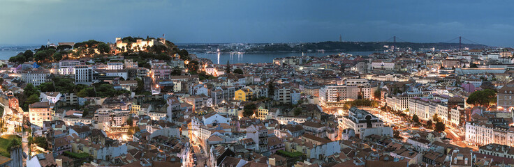 Panorama on Lisbon city with old architecture