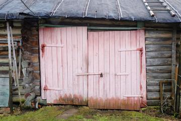 warped door old rustic barn