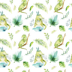 Baby animals nursery isolated seamless pattern. Watercolor boho tropical fabric drawing, child tropical drawing cute iguana, crocodile and palm tree, alligator tropic green texture illustration