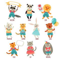Set of illustrations with animals. Cartoon style