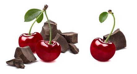 Cherry broken chocolate 2 isolated on white