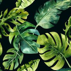 Akwarela wzór tropikalnych liści, gęsta dżungla. Ha
