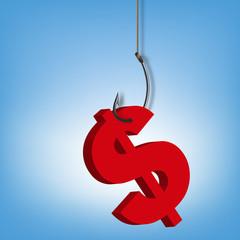 monnaie - Dollar - économie - devise - hameçon