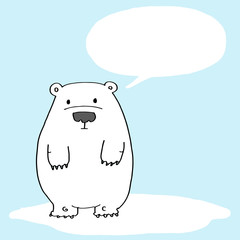 Cute polar bear with text