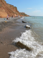 Seashore of red clay