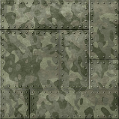 Wall Mural - metal plates with camouflage 3d illustration