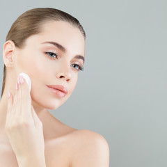 Perfect Healthy Woman with White Cotton Pads. Hygienic, Cleansing and Facial Treatment Concept