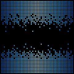 Pixel background texture in blue with copy space. Vector light bitmap pattern backdrop and message space.