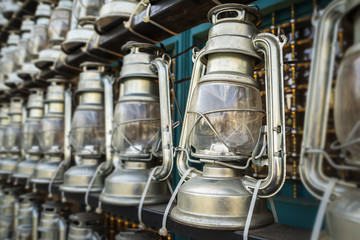 Decorative kerosene lamps in front of a mosque, as a symbol of religious mourning of Imam Husayn martyrdom in the Battle of Karbala, Tehran, Iran