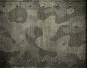 Wall Mural - Military metal armor with camouflage 3d illustration