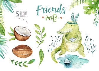Baby animals nursery isolated illustration for children. Watercolor boho tropical drawing, child cute crocodile, tropic alligator. Baby shower