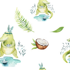 Baby animals nursery isolated seamless pattern. Watercolor boho tropical drawing, child tropical drawing cute crocodile, tropic green