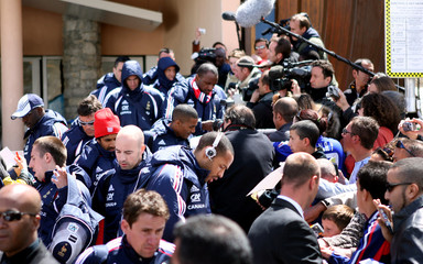 French soccer player Henry signs autographs at Tignes ski resort in French Alps