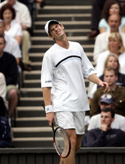 Britain's Andrew Murray reacts at the Wimbledon tennis championships.