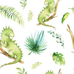 Baby animals nursery isolated seamless pattern. Watercolor boho tropical fabric drawing, child tropical drawing cute iguana and palm tree, tropic green texture