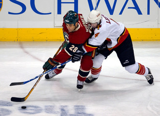 WILDS WIEMER AND FLAMES LEOPOLD BATTLE FOR PUCK.