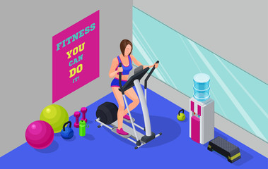 Fitness cardio workout isometric illustration with girl running elliptical machine, sport infographics template vector illustartion