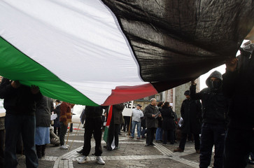 Demonstrators hold a big flag during a pro-Palestinian march against the international community's silence over Israel's offensive in Gaza Strip, in Bordeaux.