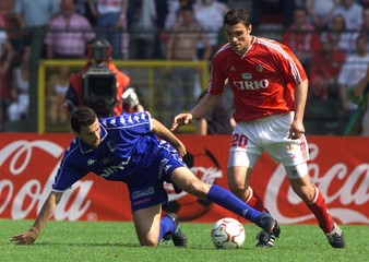 GENK'S HASI FIGHTS FOR THE BALL WITH STANDARD'S WUILLOT DURING BELGIAN CUP FINAL.
